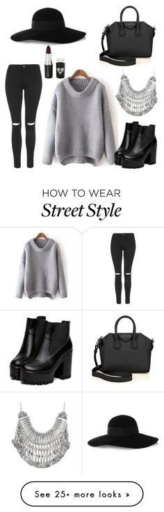 """""""Street style/casual"""" by chloebreann on Polyvore featuring moda, Topshop, Eugenia Kim, Givenchy ve Voom"""