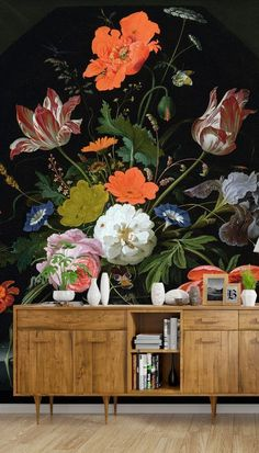 Bring texture to dark and moody walls with this beautiful, new dark floral wallpaper. Create a custom wall mural for your home and fill in our online order form to specify your wall's dimensions. We have two types of paste the wall wallpaper: classic and premium. We also have a self-adhesive wallpaper called peel and stick. Find out more from Wallsauce! #wallpaper Where to buy vintage wallpaper.