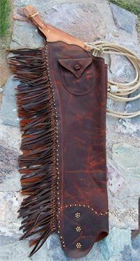 Laramie Shotgun Chaps - Western leather chaps with spot design