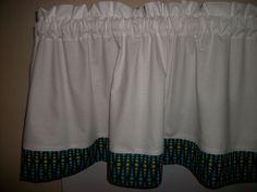 White Turquoise Lime Green Blue Polka Dot teardrop fabric topper curtain Valance #Handmade
