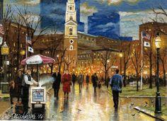 Original ACEO Boston Island Christmas Market Winter Vintage USA by M. Mishkova