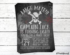 Invito dei pirati / / lavagna stampabile pirata Bash