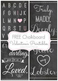 Free Chalkboard Valentine's Printables from Classy Clutter Valentine Day Love, Valentine Day Crafts, Valentine Decorations, Funny Valentine, Valentine Template, Happy Hearts Day, Valentine's Day Printables, Printable Art, Scrapbooking