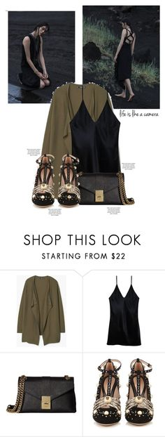 """Make it on your own."" by aanchal-w ❤ liked on Polyvore featuring MANGO, Fleur du Mal, Calvin Klein, Gucci, gold, dress, velvet and polyvoreeditorial"