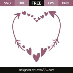 *** FREE SVG CUT FILE for Cricut, Silhouette and more *** Hearts and arrows