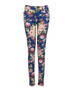 Ladies High Waist Jeggins Floral Print Denim Skinny Trousers Studded Leggings UK