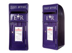 Royal mail post box in Cadburys purple with silver lettering / wedding post box / lockable fun letter box / purple royal mail post box for hire and sale
