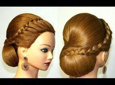 Hairstyles for medium long hair, wedding updo. Свадебная прическа для длинных волос. - YouTube