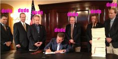 Kasich signs new restrictions on women's healthcare surrounded by dudes. #2014 #ohio #kasich #prochoice