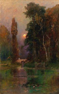 Klever, Julius Sergius von (b,1850)- Ornamental Lake in Park, 1905 -2a
