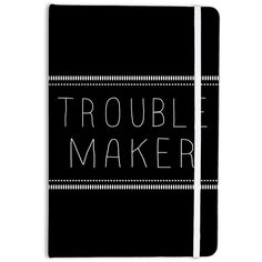 Kess Inhouse Skye Zambrana Trouble Maker Everything Notebook Great for... ($15) ❤ liked on Polyvore featuring home, home decor, fillers, black, home & living, office, office & school supplies, writing notebook, black notebook and black home decor