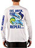 UPF 50 Long Sleeve Performance Fishing Shirt Eat Drink Fish Repeat Gamefish Large White Microfiber Dri Fit Material Perfomance Fishing Shirt for wicking Fishing Shirts, Large White, Repeat, Personal Style, Graphic Sweatshirt, Drink, Sweatshirts, Long Sleeve, Sweaters