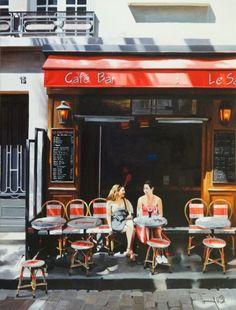 Café Le Sabot Rouge – Andre Beaulieu (Canadian painter; born in Quebec, living in Paris, France).