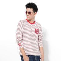 【江戶勝系列】EDWIN 和風袖口刺繡 條紋T恤-男款 紅色