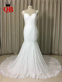 Custom Made 2017 New Mermaid Backless Lace Sexy Long Bride Wedding Dresses Vestidos de Novia QUEEN BRIDAL Real Photos QB07