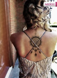 This shaded Dreamcatcher. For those girls who want something graceful yet attractive dreamcatcher piece, this is the one worthy considering. #backtattoos