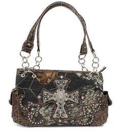 Brown Mossy Oak Camouflage Handbag with Rhinestone Cross - Handbags, Bling & More!