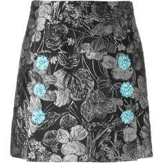 Dolce & Gabbana metallic jacquard skirt (99,810 INR) ❤ liked on Polyvore featuring skirts, black, embellished skirts, high-waisted skirts, high waisted knee length skirt, metallic jacquard skirt and high waisted skirts