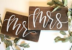 Mr And Mrs Chair Signs | Rustic Wedding | Mr and Mrs Signs | Chair Signs | Wood | Decor