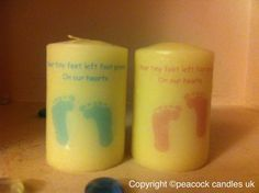 """Angel baby memorial candle  Stillbirth/ baby loss/ SIDS/ miscarriage    A beautiful candle designed specifically for the loss of a precious baby.  Ivory candle  7cm tall x 4.5cm wide  """"your tiny feet left foot prints on our hearts"""""""