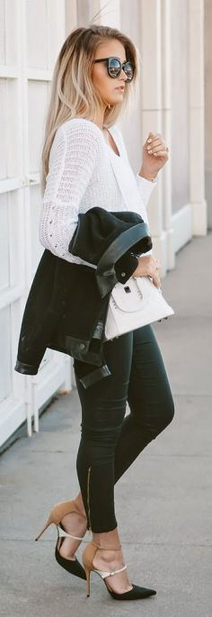 Black And White Chic Outfit by Cara Loren... her shoes make the outfit , it takes it from basic  to casual dressy