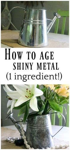 Acupressure Diy How to Age Galvanized Metal the EASY way - Wondering how to age galvanized metal? This is THE easiest way with just one simple ingredient! Get that beautiful rusted look the EASY way! Rusted Metal, Corrugated Metal, Metal Tree, Antique Metal, Painting Galvanized Metal, Galvanized Decor, Galvanized Buckets, How To Rust Galvanized Metal, Galvanized Steel