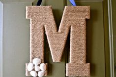 "13"" Twine Monogram Summer Wreath with Seashells on Etsy, $19.99"