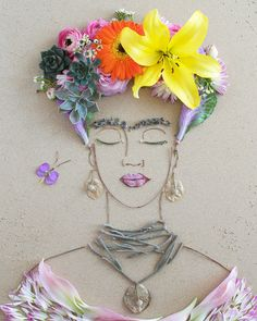 """Inspired Frida"" Flower Face Print"