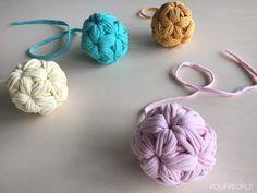 Пухлый шарик из трикотажной пряжи. Вязание крючком - YouTube