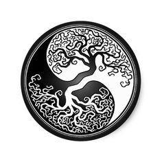Shop Yin Yang Tree Classic Round Sticker created by JeffBartels. Celtic Tree Tattoos, Round Tattoo, Mandala Symbols, Yin Yang Art, Yin Yang Tattoos, Unique Symbols, Twisted Tree, Celtic Tree Of Life, Marquesan Tattoos