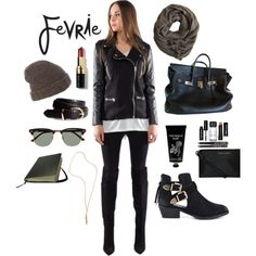 Fevrie Look 3 by the59thstreetbridge on Polyvore featuring Steve Madden, Hermès, Maiyet, Inverni, H&M, Ray-Ban, Bobbi Brown Cosmetics, TokyoMilk, donni charm and Fevrie