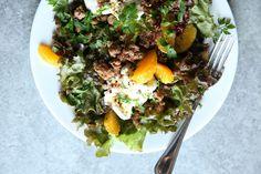 Crispy Sausage and Burrata Salad -- add tomatoes, substitute italian flavored seitan, and voila!