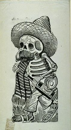 El Borracho - the drunk - famous lithograph featured on our Day of the Dead skulls