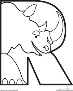 Preschool The Alphabet Animals Worksheets: Letter R Coloring Page