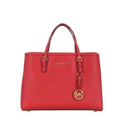 MICHAEL Michael Kors Jet Set Travel Saffiano Leather Medium Tote Red