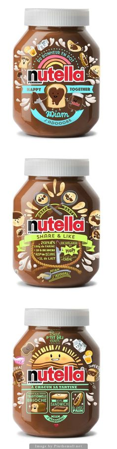 Nutella: your daily smile : ) curated by Packaging Diva PD (sorry no source link) Bottle Packaging, Pretty Packaging, Brand Packaging, Simple Packaging, Food Branding, Branding Design, Label Design, Package Design, Print Design