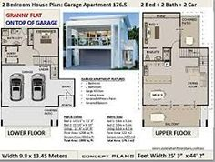 2 bedroom apartment above garage plans Google Search Narrow Lot House Plans, House Plans One Story, Story House, Modern House Plans, Small House Plans, House Plans For Sale, Flat Plan, Duplex Floor Plans, 2 Bedroom House Plans