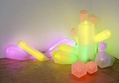 "Sylvie Fleury, ""Cristeaux"", 2001, plexiglass and neon."