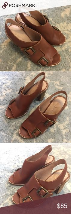 NEW Madewell Cognac Leather Buckle Slingback Heels NEW Madewell Shoes with a brown leather cognac color body and a sling back style with buckle detail atop and peep toes! Size 5. New without tags and no box Madewell Shoes