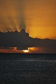 Sunset from the island of Savaii, Samoa