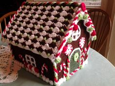 Crocheted Gingerbread House.  I had to make 2 of these last year. :)