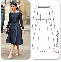 DIY Nähen Kleidung nähen The bespoke Dior dress that wore to the RAF celebration is exactly how I had envisioned her wedding dress sh. Dior Dress, Frock Dress, Dress Sewing Patterns, Clothing Patterns, Elegant Dresses, Beautiful Dresses, African Dress, Classy Outfits, African Fashion