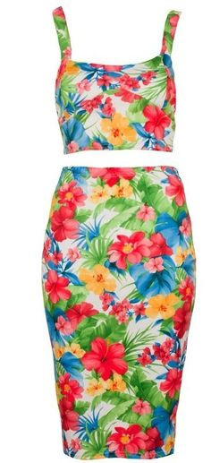Summer floral print two piece skirt and top