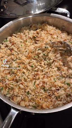 Seasoned Rice Recipes, Healthy Brown Rice Recipes, Tasty Rice Recipes, Jasmine Rice Recipes, Vegetarian Recipes, Orzo Recipes, Cooking Recipes, Healthy Recipes, Almond Rice Recipe