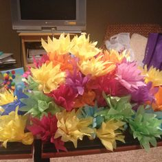 Tropical flowers to hang in the dorm al pretty like :) made of tissue paper