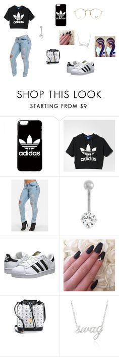 """""""shopping"""" by gennypooh4ever ❤ liked on Polyvore featuring adidas, Gioelli Designs, adidas Originals, MCM, Belk & Co. and Ray-Ban"""