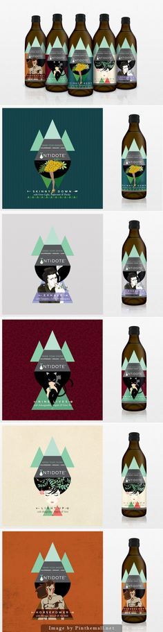 Love these packaging designs for Antidote cold-pressed organic juices designed by Sargam Gupta PD