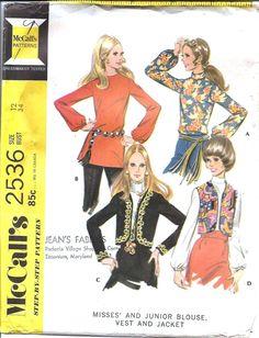 McCall's 2536 ©1970 blouse, vest, & jacket