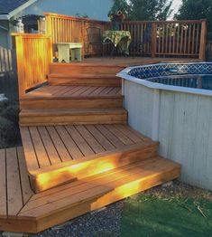 Above Ground Pool Landscaping, Backyard Pool Landscaping, Backyard Pool Designs, In Ground Pools, Above Ground Swimming Pools, Round Above Ground Pool, Above Ground Pool Steps, Pool Deck Plans, Pool And Deck Ideas