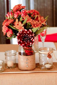 Fall Wedding Colors, love this.   David's Bridal Fern dresses?  Definitely burlap wrapped bouquets.